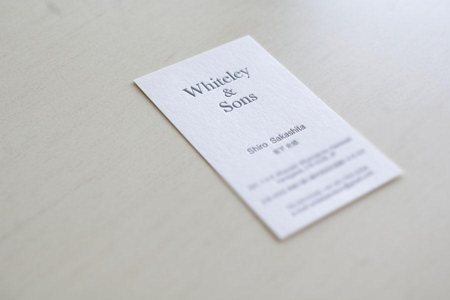 Whiteley and Sons様 活版印刷名刺
