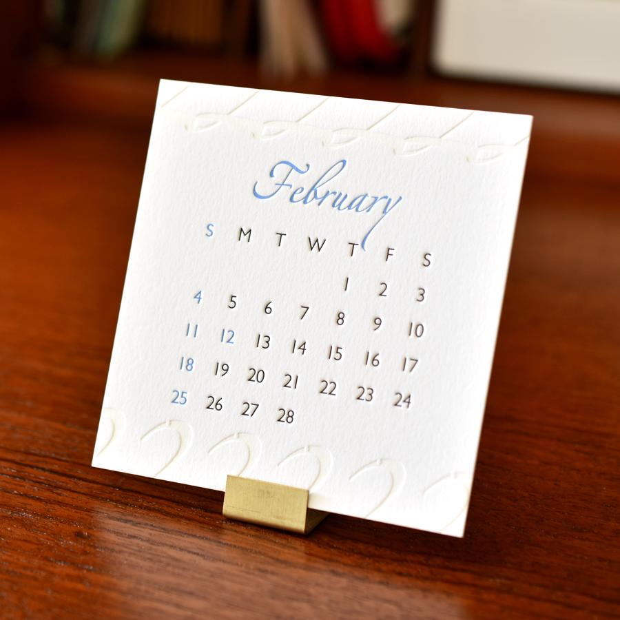 2018年レタープレスカレンダーの2月