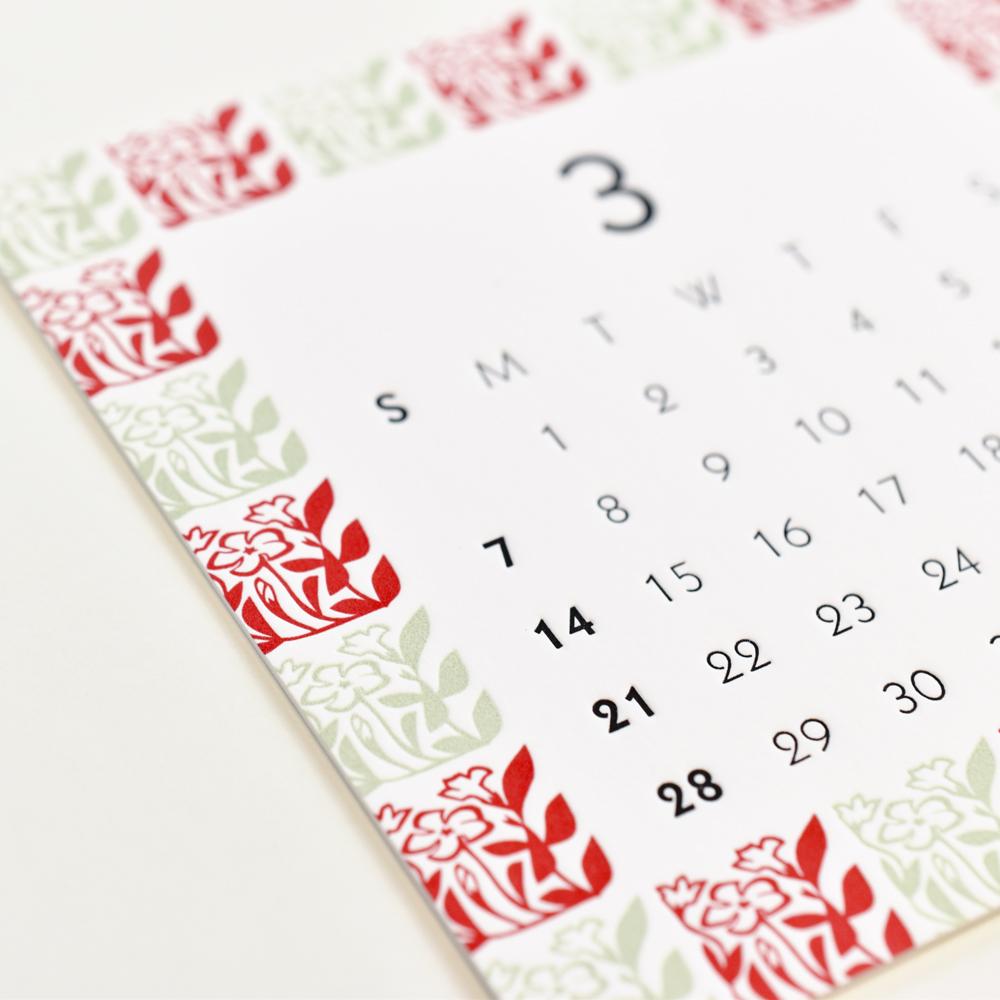 3月のレタープレスカレンダー