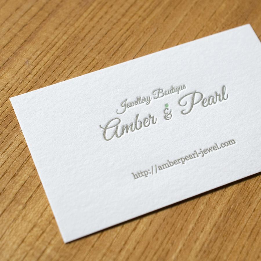 Amber & Pearl様、活版印刷名刺