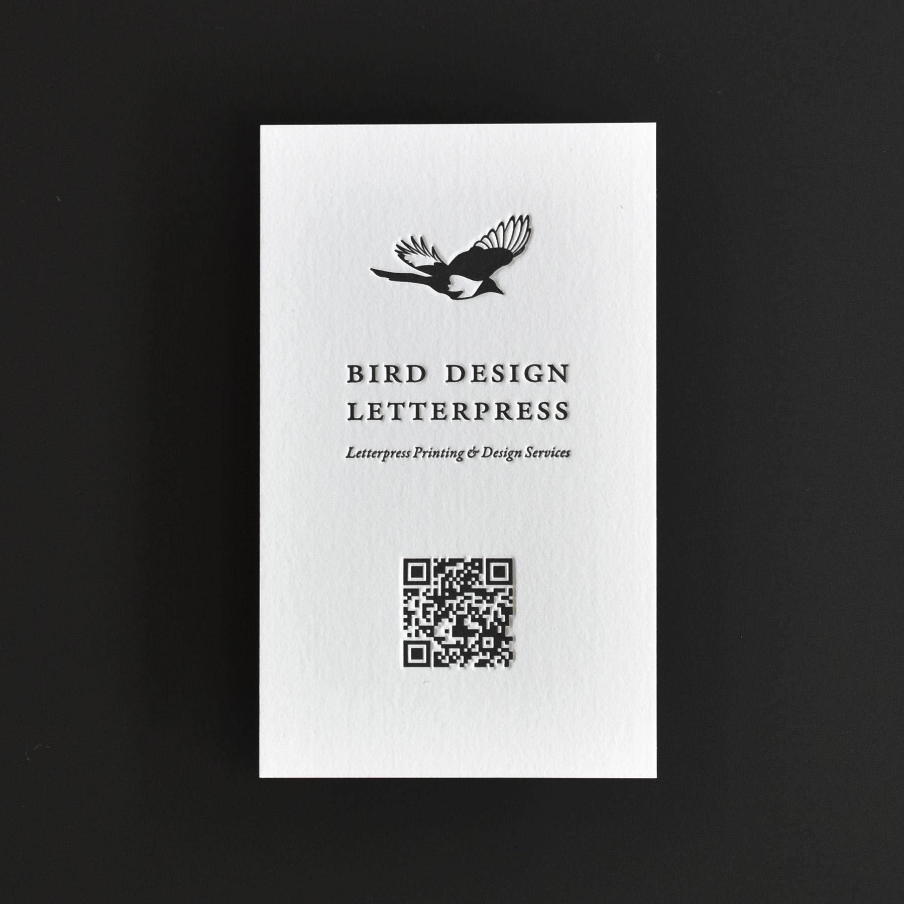 活版印刷 Bird Design Letterpress ショップカード/QRコード