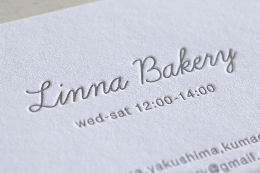 Linna Bakery様 活版印刷ショップカード