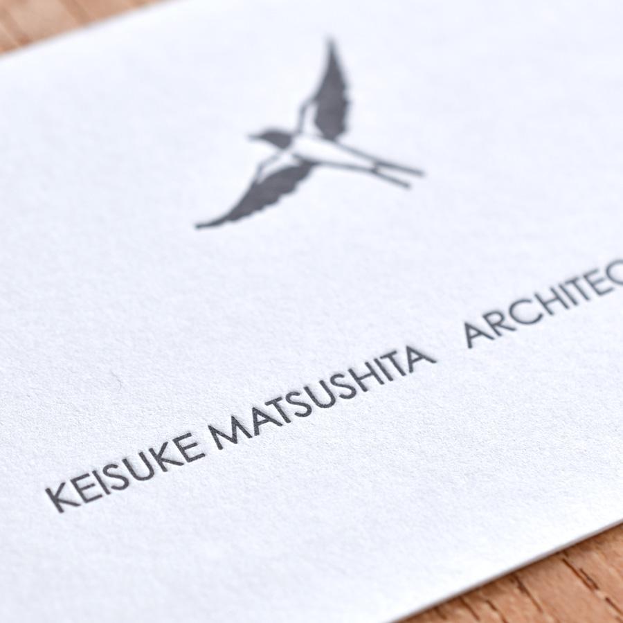松下佳介建築設計事務所様、活版印刷名刺クローズアップ
